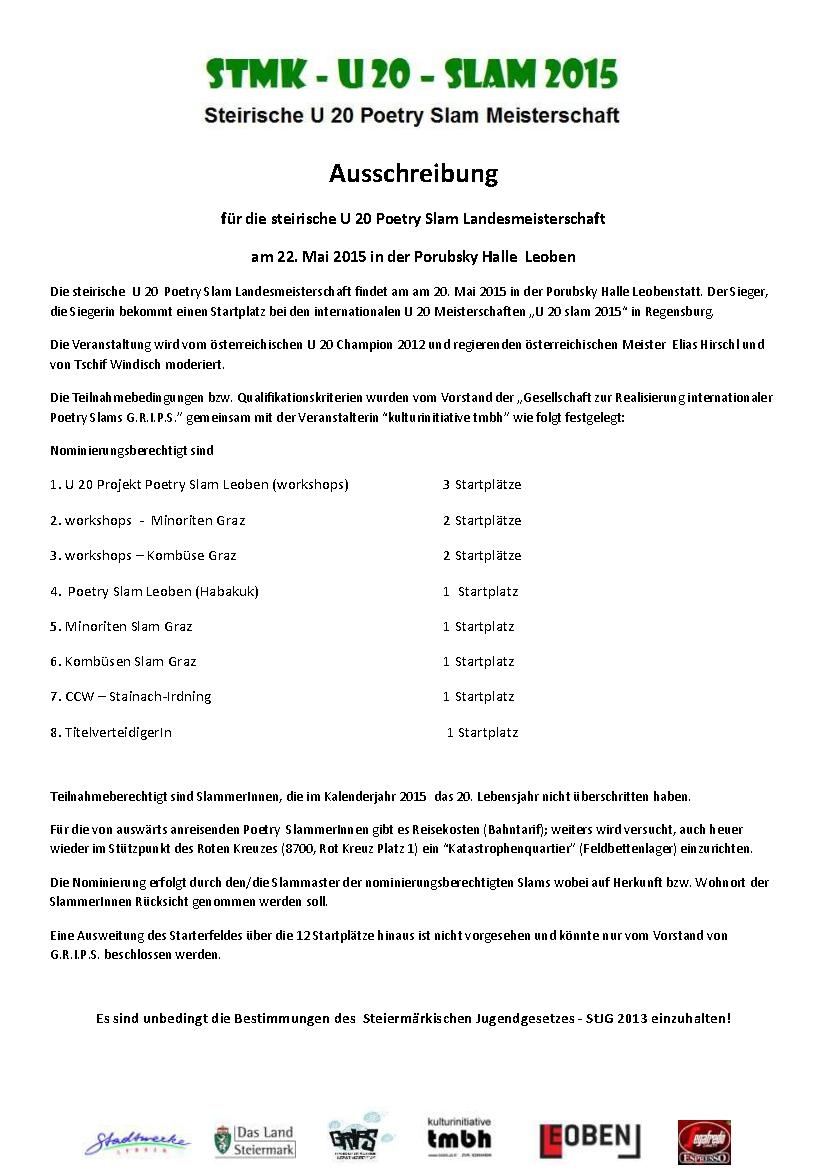 Ausschreibung u 20  LM 2015 - 1-001